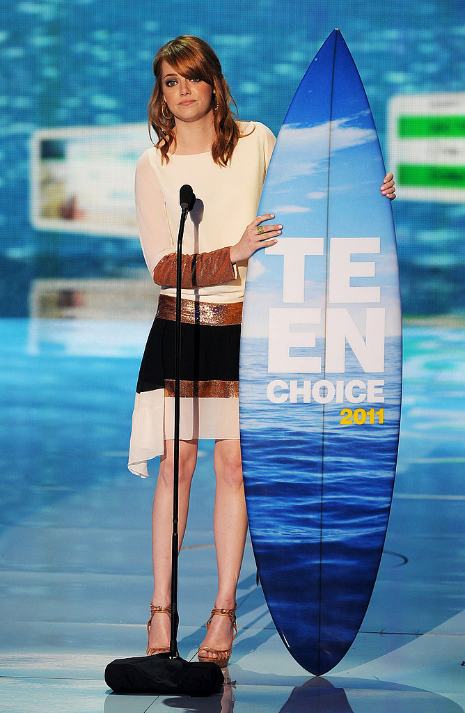 Emma went for a sleek Christian Dior colorblock dress and ankle-strap pumps at the 2011 Teen Choice Awards — a timeless, yet still on-trend look.