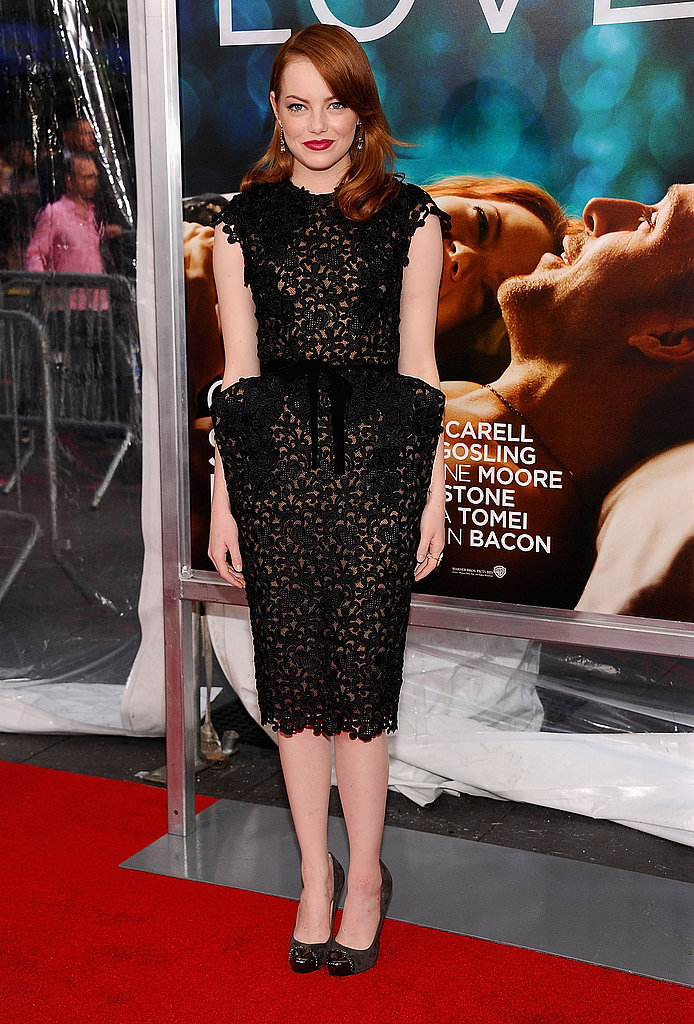 Take a major style risk like Emma did in this gorgeous lace Tom Ford dress. The angular shape lends a futuristic vibe, which the actress played down by choosing simple black pumps and classic hair and makeup.