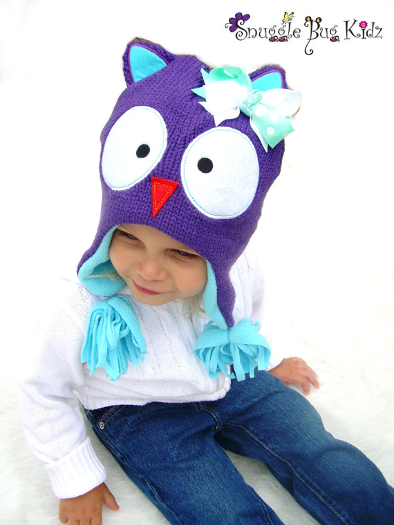 Knit Owl Hat For Girls