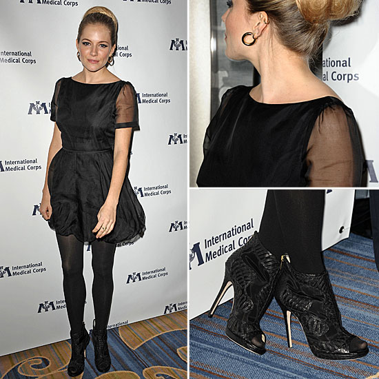 Sienna Miller Wearing Twenty8Twelve Black Dress Fall 2011