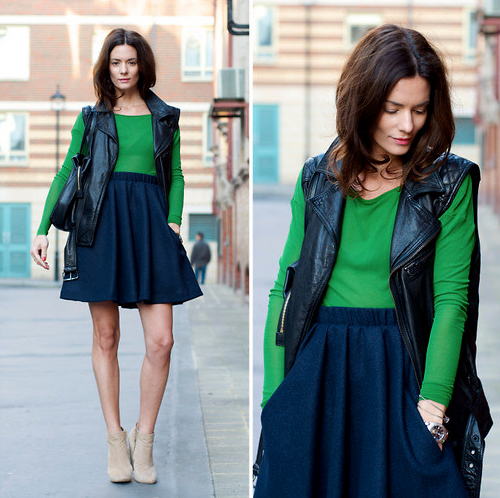 We love the play of a punky leather vest and preppy Kelly green.   Photo courtesy of Lookbook.nu