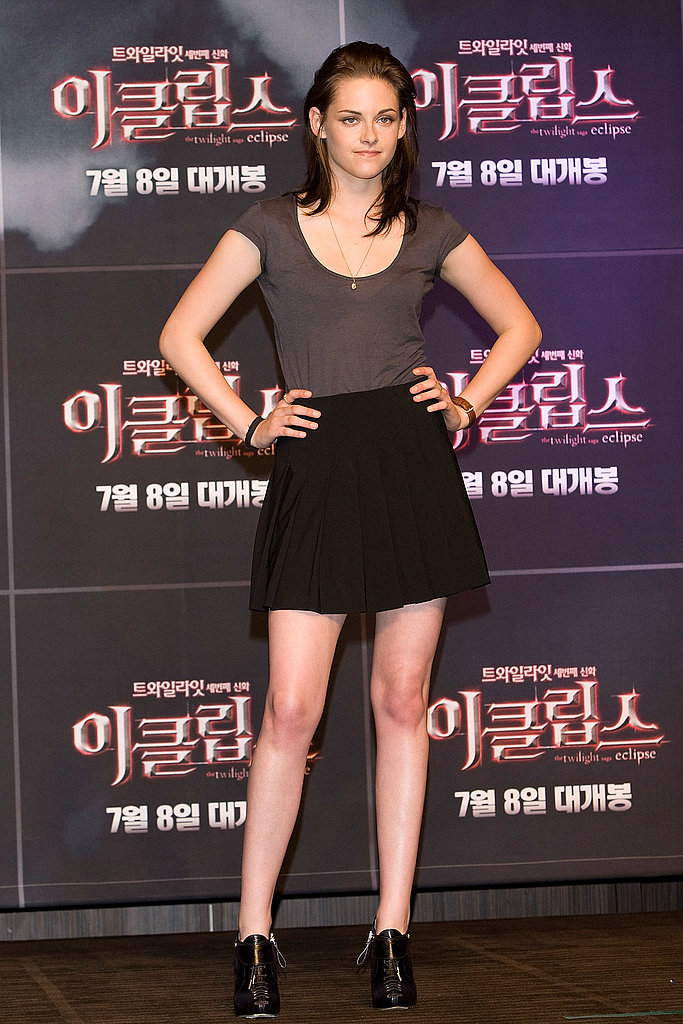Basic separates and Sergio Rossi ankle boots at the Seoul Eclipse press conference in June 2010.
