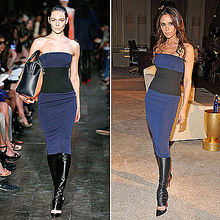 Victoria Beckham Wearing Leather Leggings and Spring '12 Dress