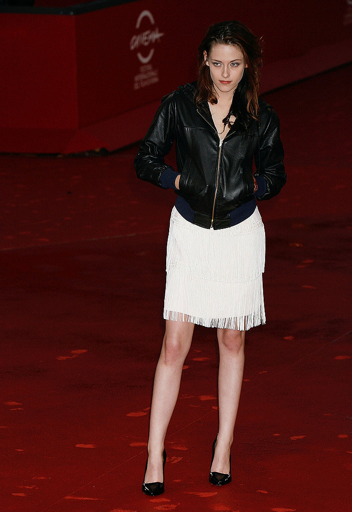 Kristen added an edgy leather jacket to her Twilight premiere look at the Rome International Film Fest in October 2008.
