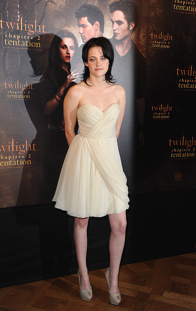 A soft J.Mendel frock for a New Moon photocall in Paris in November 2009.