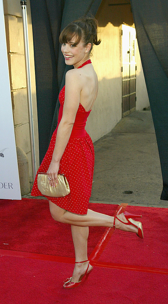 Rachel showed off a cherry-red dress and a bright smile at the Movieline Young Hollywood Awards in 2004.