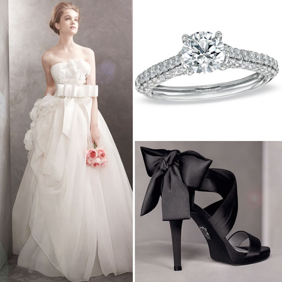 wedding dress and rings