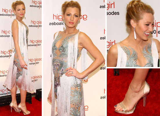 Pictures of Blake Lively in Fringed Marchesa Spring 2012 Dress at the Gossip Girl 100 Episode Party in New York, from All Angles