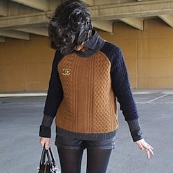 Leather Shorts and Cable Knit Sweaters Street Style