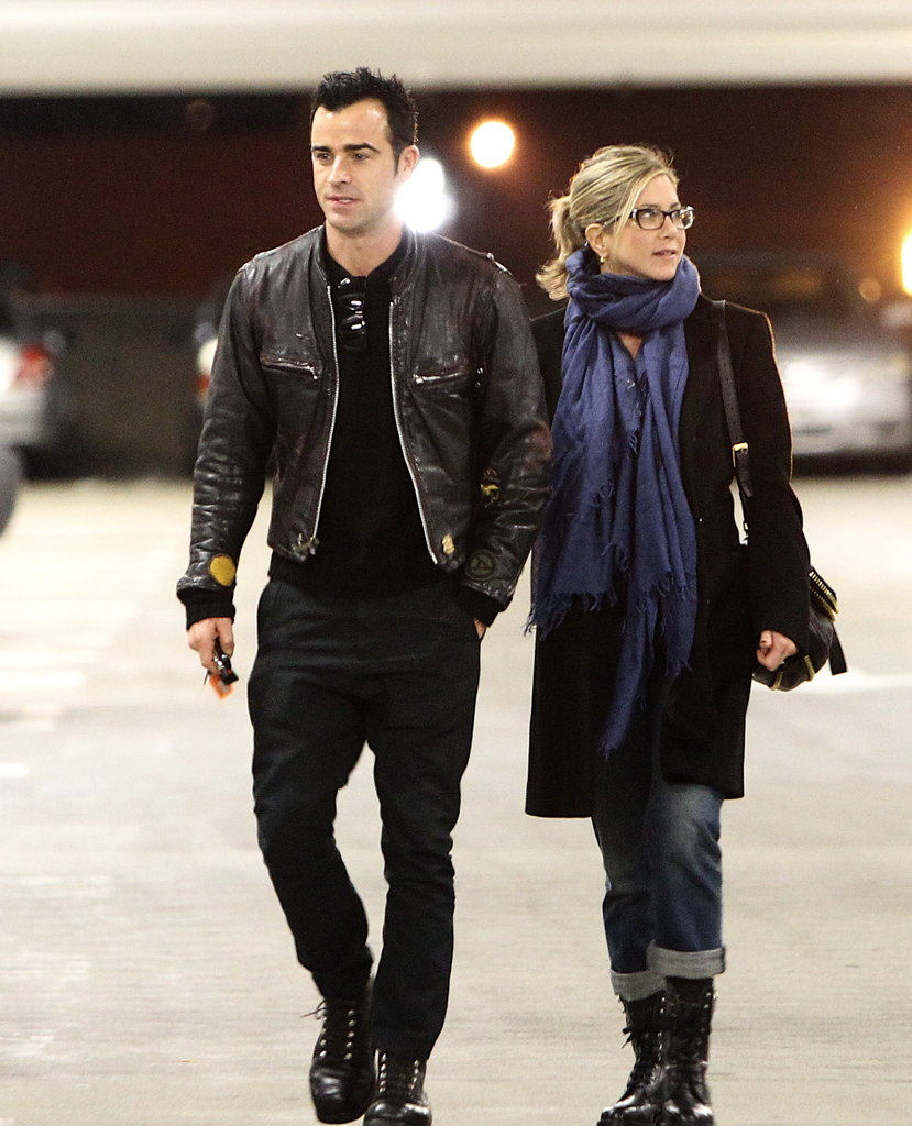 Jennifer Aniston and Justin Theroux left an LA movie theater.