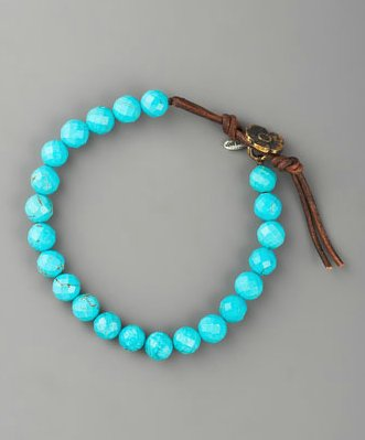 The jewelry produced by this family team is not only beautiful but also handcrafted, and with every purchase, Love Heals supports the planting of 10 trees. How's that for the perfect gift?  Love Heals Turquoise Bead Bracelet ($100)