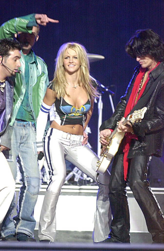 Britney Spears joined Aerosmith for the 2001 Super Bowl Halftime Show in Florida.