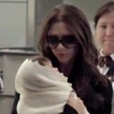 Victoria Beckham and Baby Harper at Airport (Video)