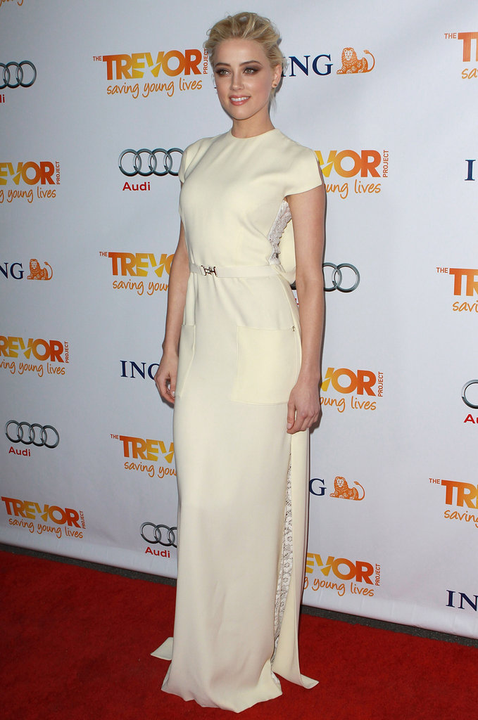 Amber Heard looked utterly chic in a white short-sleeve gown at Trevor Live in Hollywood.