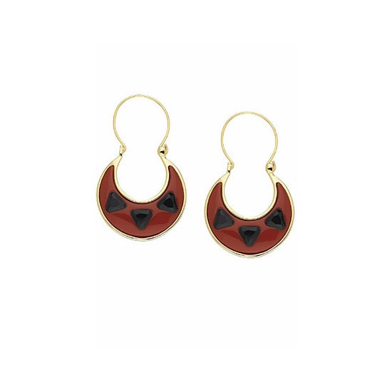 14KT Gold Black and Red Resin Earrings
