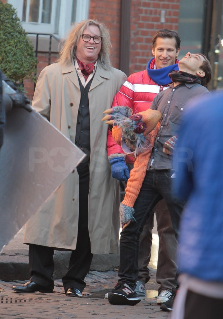 Val Kilmer and Andy Samberg shared a laugh on set.