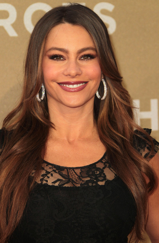 Sofia Vergara shined in sparkly hoop earrings.