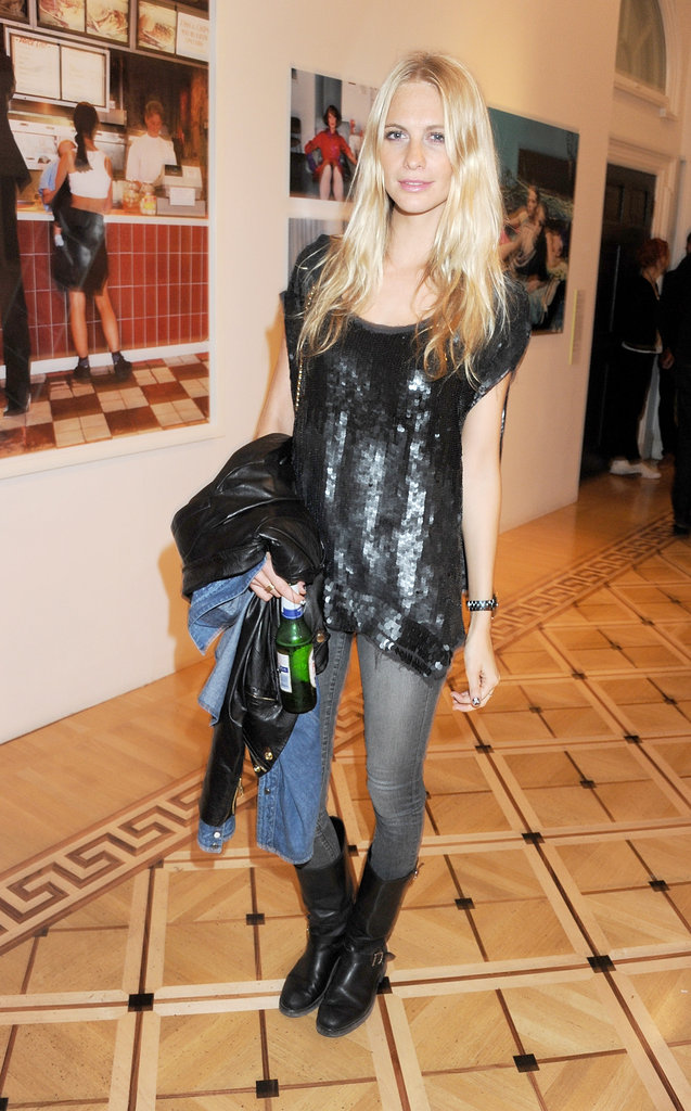 Poppy Delevigne gives sequins a cool finish with denim and biker boots.
