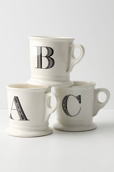 """I find these are a universally pleasing present. The monogramming feels personal and the style's simple but sweet, so it goes with nearly everyone's décor — plus, everyone will love that they have their own initialed mug for coffee and tea."" — Hannah Weil, assistant editor  Anthropologie Monogrammed Mugs ($6)"