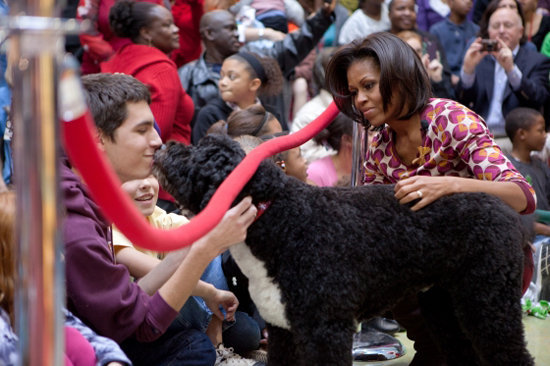 This presidential pooch knows a thing or two about humanitarianism. At this year's visit to the Children's National Medical Center, Bo listened patiently to story time, and then made some new friends among the patients and families in attendance. Source: Official White House Photo by Chuck Kennedy