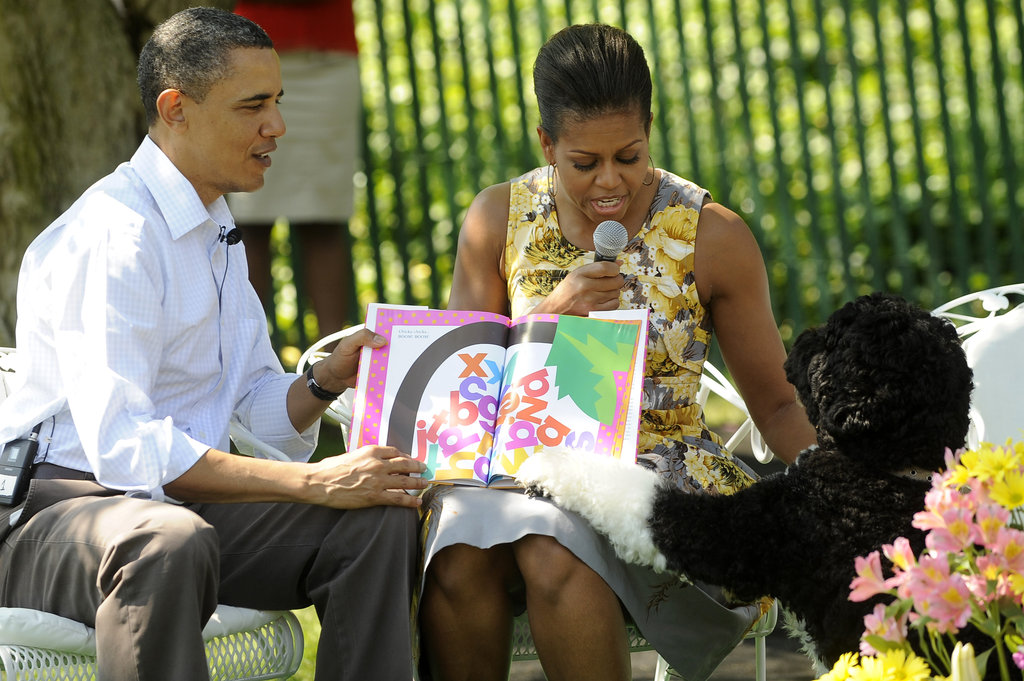 April brought the annual Easter Egg Roll on the White House's South Lawn. Bo's enthusiasm was kept well in check so that the kids could get their fill of hunting, but he joined the first family during story time and even pointed out his favorite parts. Source: Getty Images