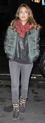 Jessica Alba in Navajo Cobra Society Boots, Proenza Schouler