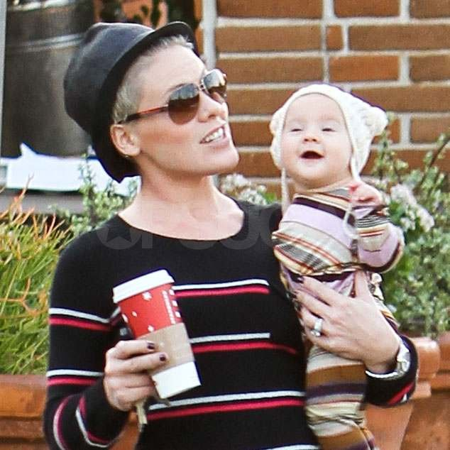 Pink at Starbucks with Willow.