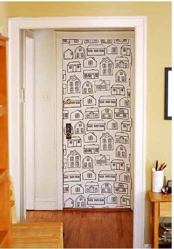 Learn how to use fabric as wallpaper! Source: How About Orange