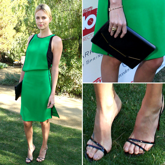 Charlize Theron S Green Dress In Palm Springs Popsugar