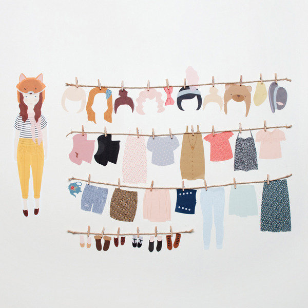 Love Mae Dress Up Doll Wall Decals ($70)