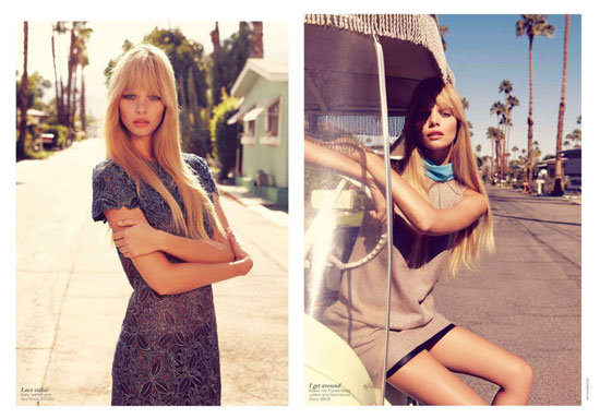 Marloes Horst and Kendra Spears Get Flirty in Palm Springs forVogue Australia February 2012, shot by Nicole Bentley