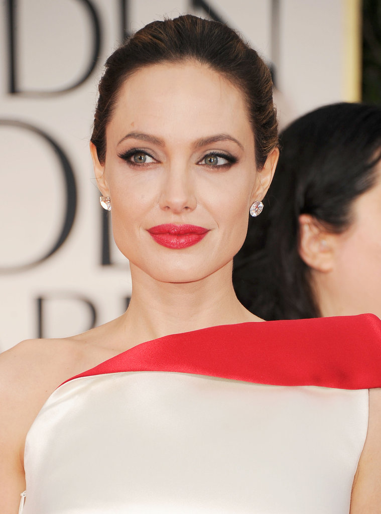 Angelina Jolie had red lipstick on for the 2012 Golden Globes.