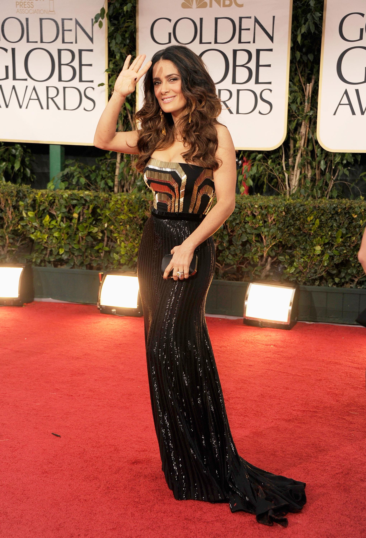 Salma Hayek in Gucci at the Golden Globes.