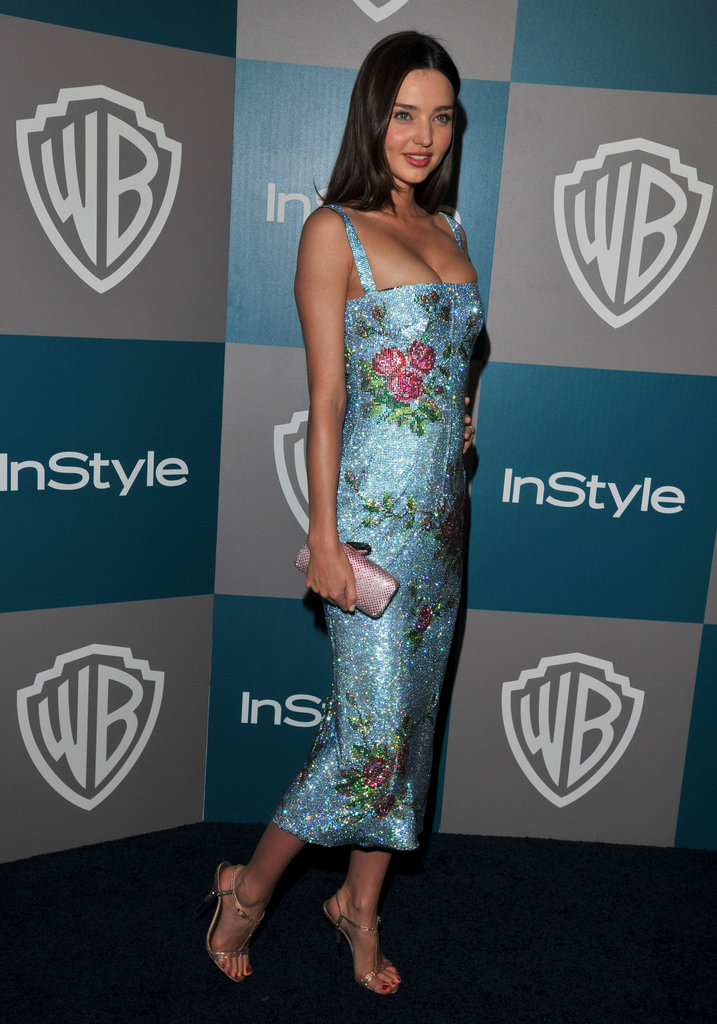 Miranda Kerr arrived at InStyle's Golden Globes afterparty.