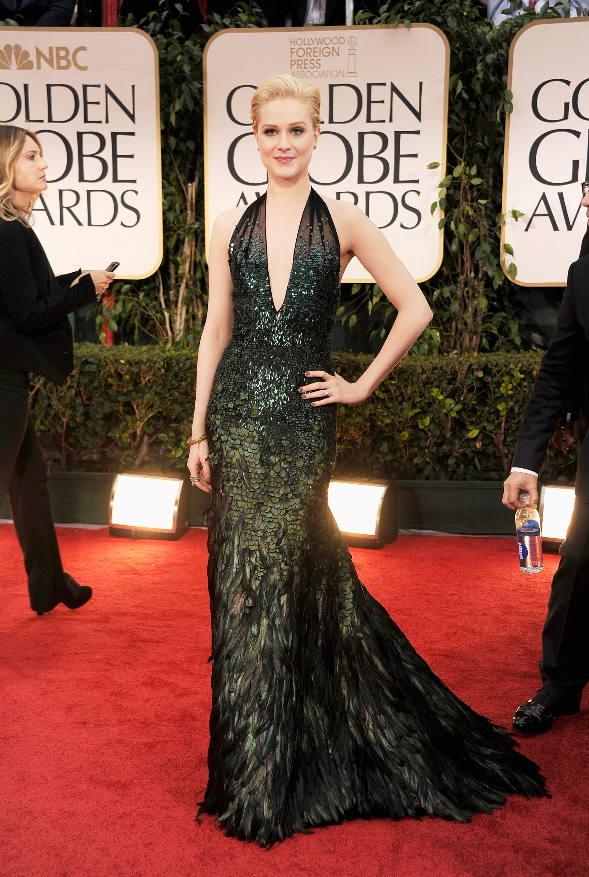 Evan Rachel Wood in Gucci Premiere at the Golden Globes.