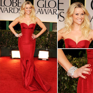 Reese Witherspoon Wears Deep Red Zac Posen Gown at the 2012 Golden Globes