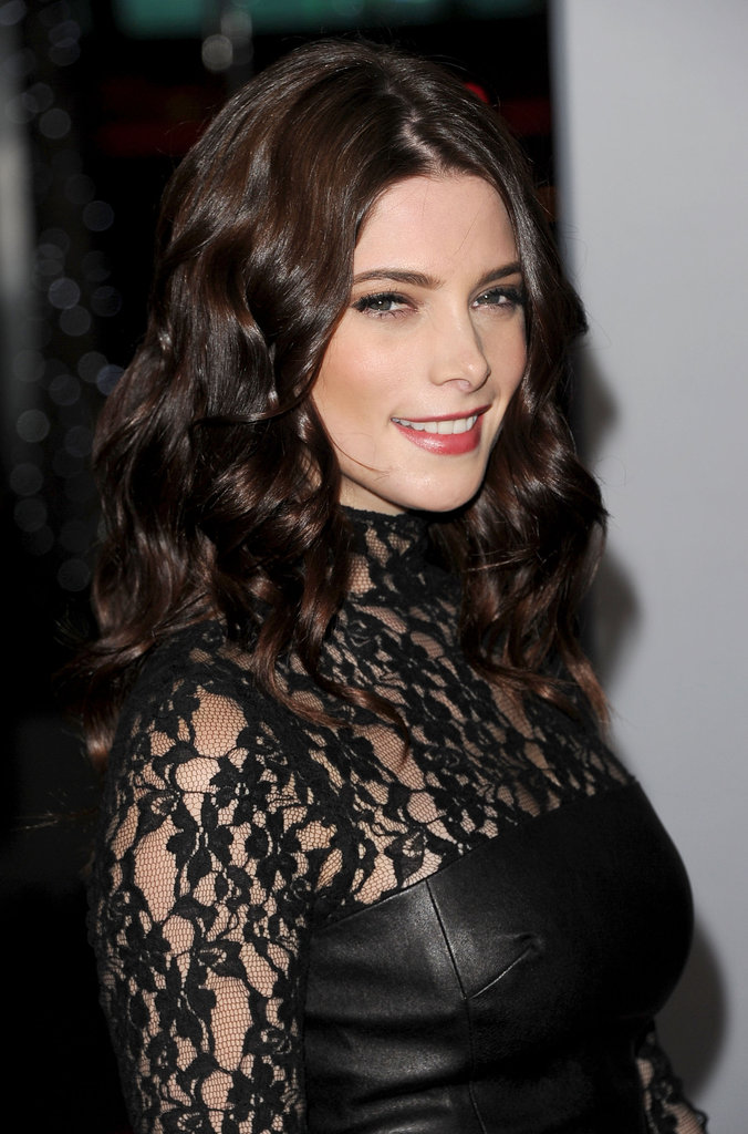 Ashley Greene mixed leather and lace at the People's Choice Awards.