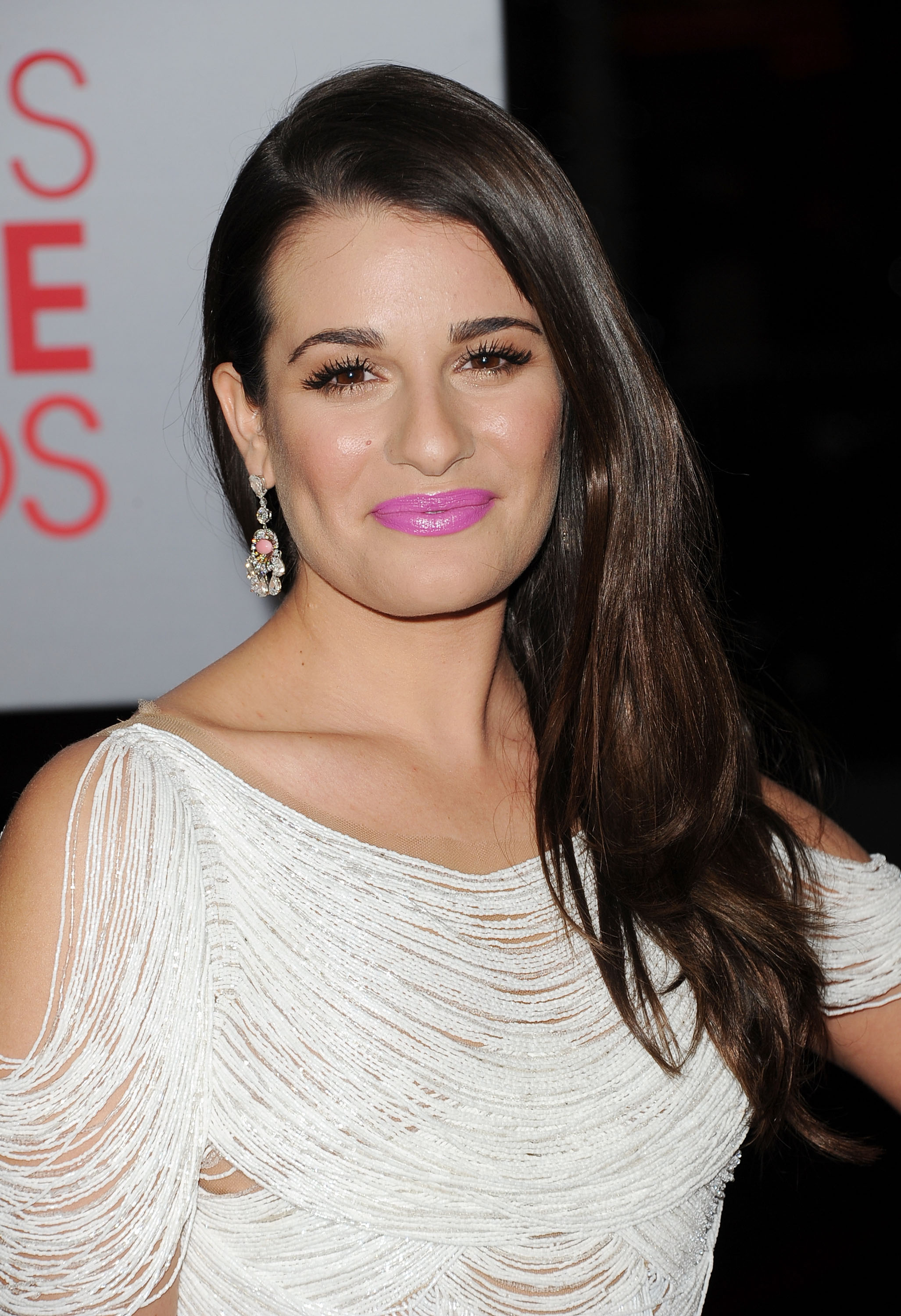 Lea Michele had pink lips on the red carpet.