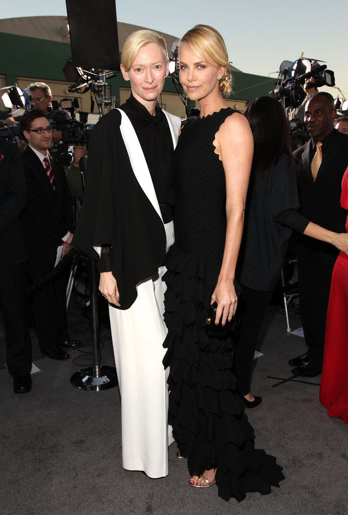 Tilda Swinton and Charlize Theron were in black for the 2012 Critics' Choice Movie Awards.