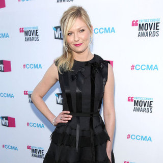 Kirsten Dunst Black Dior Dress Pictures at 2012 Critics' Choice Awards