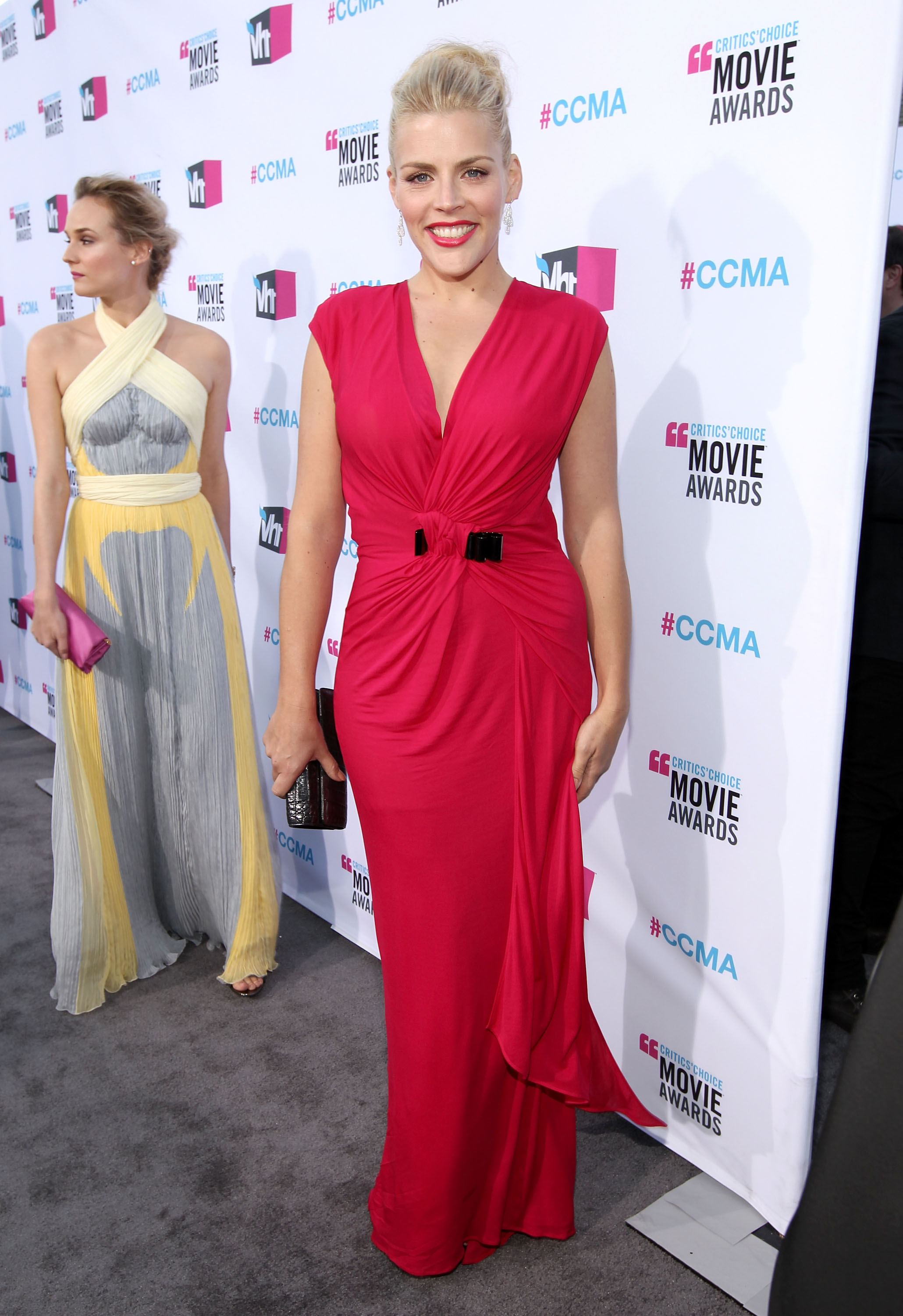 Busy Philipps led the way on the gray carpet for Diane Kruger at the 2012 Critics' Choice Movie Awards.