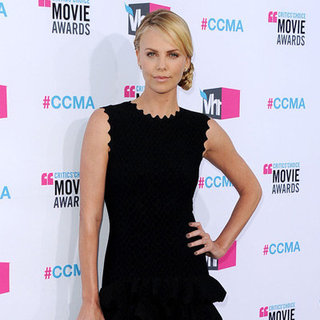 Charlize Theron Long Black Dress and Braids Pictures at 2012 Critics' Choice Awards