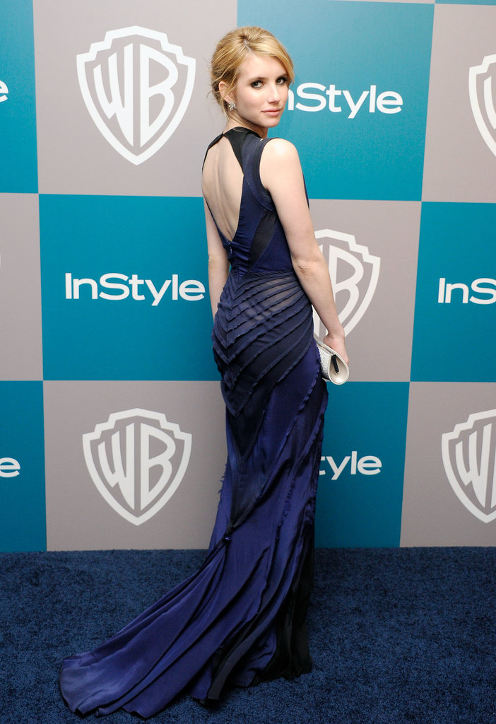 Emma Roberts on the red carpet at  InStyle's Golden Globes afterparty.
