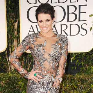 Lea Michele Marchesa Dress Pictures at 2012 Golden Globes