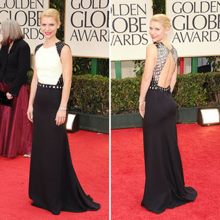 Claire Danes in Black and White J Mendel  at the 2012 Golden Globes
