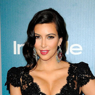 Kim Kardashian Hair and Makeup at the 2012 Golden Globes InStyle After Party
