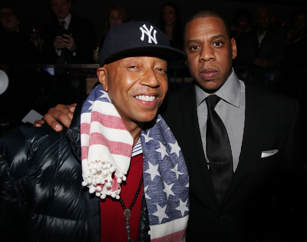 Russell Simmons and Jay-Z were close-knit at the opening party for Jay-Z's 40/40 Club.