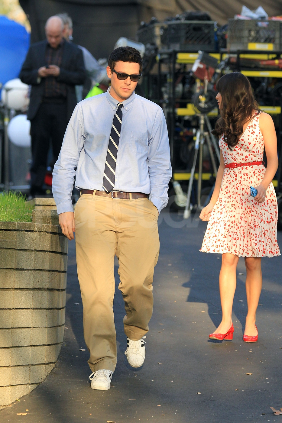 Cory Monteith and Lea Michele walked to the set of Glee together.