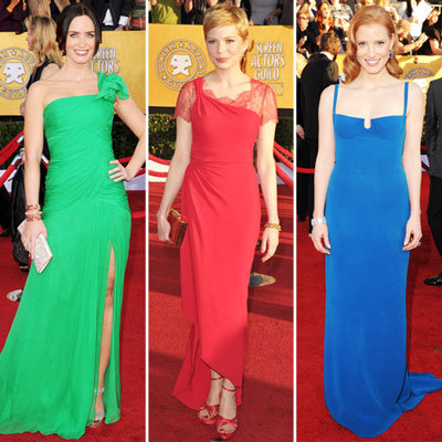 Celebrities Wearing Colorful Dresses at SAG Awards 2012