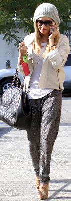 Ashley Tisdale in Gray Sequin Pants